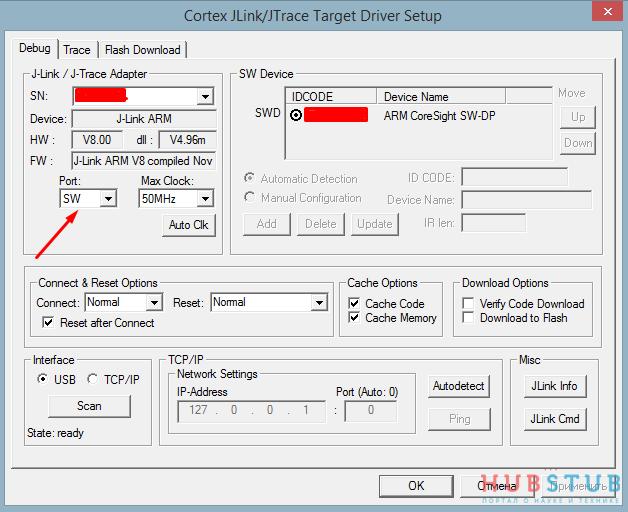 Отладка по SWD STM32.